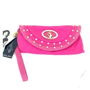 Pink Baby Phat w/ gold accents clutch NWT
